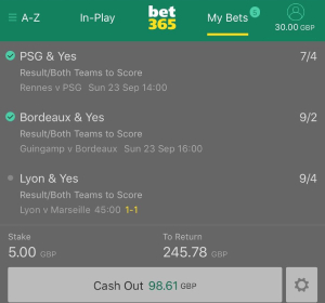 The cash-out feature at bet365
