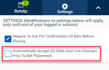 Accepting in-play odds changes