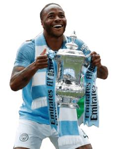 Sterling holding The FA Cup