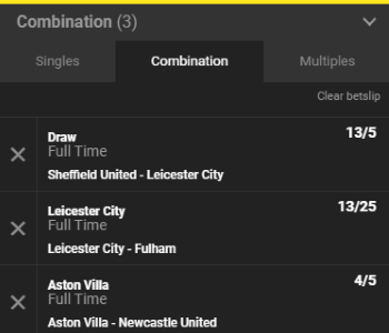 The betslip at Unibet