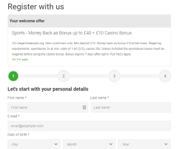 Unibet's registration proccess